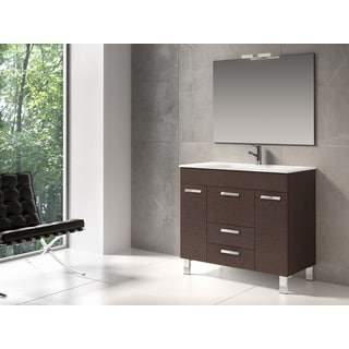 "Eviva Venus® 36"" Wenge Modern Bathroom Vanity Wall Mount with White Integrated Porcelain Sink"