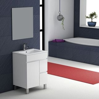 "Eviva Link® 24"" White Modern Bathroom Vanity Wall Mount with White Integrated Porcelain Sink"