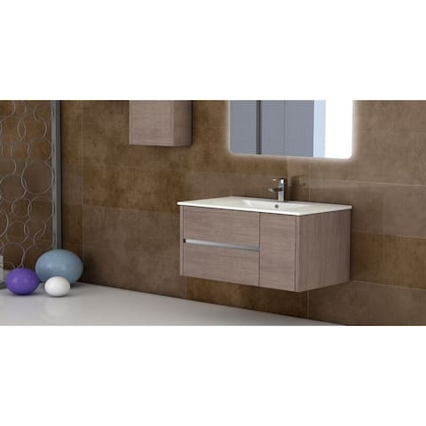 "Eviva Aries? 39"" Medium Oak Modern Bathroom Vanity Wall Mount with White Integrated Porcelain sink"
