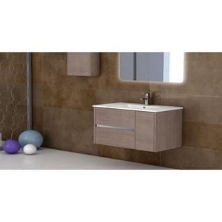 "Eviva Aries® 39"" Medium Oak Modern Bathroom Vanity Wall Mount with White Integrated Porcelain sink"
