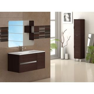 "Eviva Aries® 39"" Wenge Modern Bathroom Vanity Wall Mount with White Integrated Porcelain sink"
