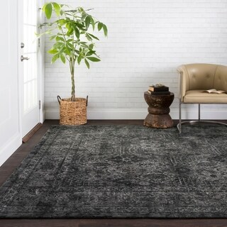 Traditional Distressed Dark Grey Filigree Rug - 7'6 x 10'6