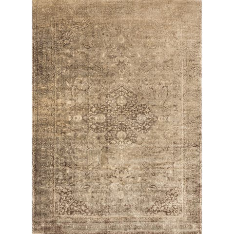 "Alexander Home Traditional Distressed Botanical Medallion Rug - 9'2"" x 12'2"""