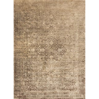 Traditional Distressed Gold/ Brown Floral Filigree Rug - 9'2 x 12'2