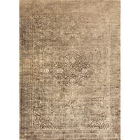 Traditional Distressed Gold/ Brown Floral Filigree Rug - 7'6 x 10'6