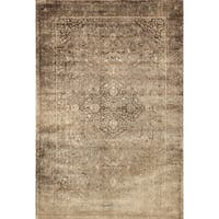 Traditional Distressed Gold/ Brown Floral Filigree Rug - 5' x 7'6