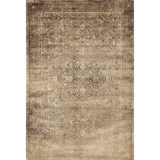 Traditional Distressed Gold/ Brown Floral Filigree Rug - 3'3 x 5'3