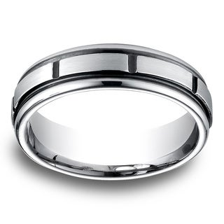 Men's Cobalt Blackened Channel Cuts and Satin Finish Ring
