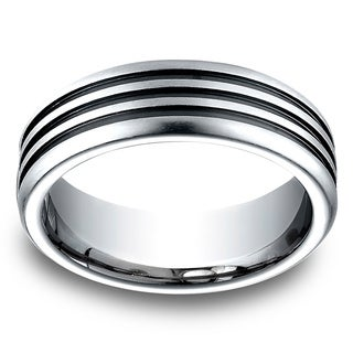 Men's 7.5MM Cobalt Ring with Three Blackened Channels (More options available)