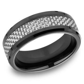 Men's 8MM Black Cobalt Ring with White Carbon Fiber Center