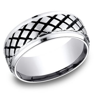 Men's 9MM Cobalt Ring with Beveled Edges and Blackened Cross-Hatch Design