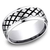 Men's 9MM Cobalt Ring with Beveled Edges and Blackened Cross-Hatch Design