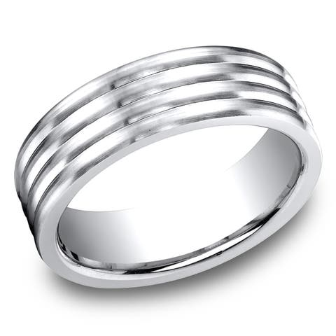 Men's 7MM Cobalt Ring with Four Satin Finished Rolls