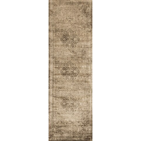 Traditional Distressed Gold/ Brown Floral Filigree Runner Rug - 2'4 x 7'9