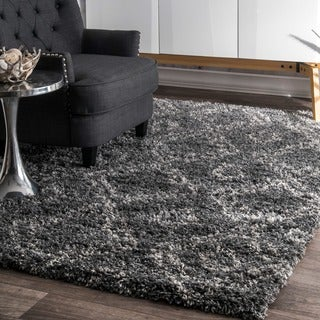 nuLOOM Alexa My Soft and Plush Moroccan Diamond Grey Easy Shag Rug (10'6 x 14')