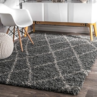 nuLOOM Alexa My Soft and Plush Moroccan Trellis Grey Easy Shag Rug (10'6 x 14')
