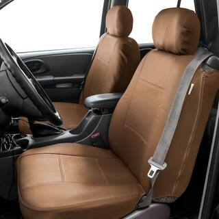 FH Group Tan PU Leather Bucket Seat Covers With Side Zipper Set Of 2