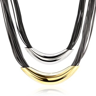 Stainless Steel Multi-strand Faux Leather with Elongated Tube Necklace - Silver