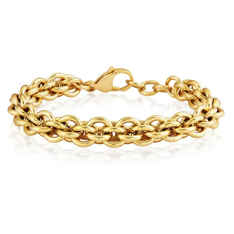 ELYA Polished Stainless Steel Rolo Chain 7.5-inch 9 mm Bracelet