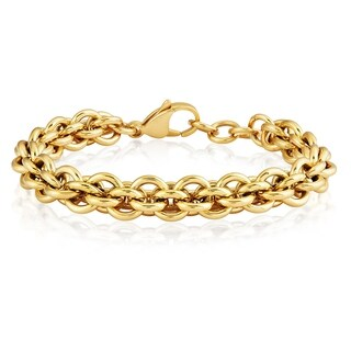 ELYA Polished Stainless Steel Rolo Chain 7.5-inch 9 mm Bracelet (2 options available)