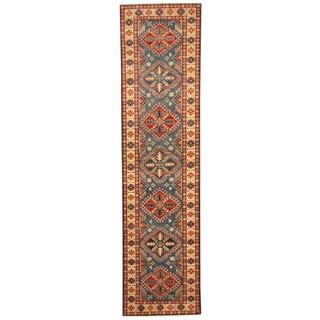 Herat Oriental Afghan Hand-knotted Kazak Wool Rug (2'7 x 10'3)