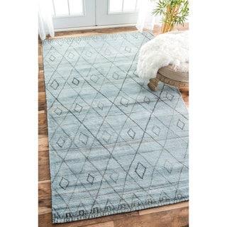 nuLOOM Handmade Concentric Diamond Trellis Wool Blue Rug (7'6 x 9'6)