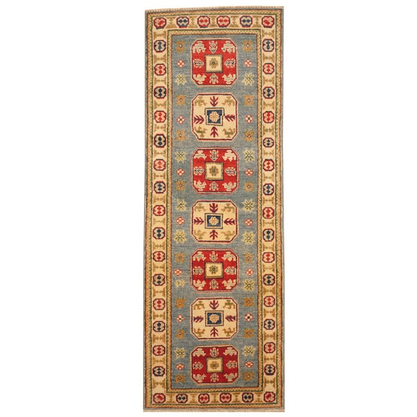 Herat Oriental Afghan Hand-knotted Tribal Kazak Wool Runner - 2' x 5'10