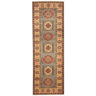Herat Oriental Afghan Hand-knotted Tribal Kazak Blue/ Ivory Wool Runner (2' x 5'10)