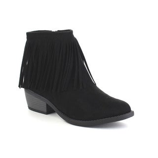 Beston Women's Side Zip Low Heel Fringe Ankle Booties