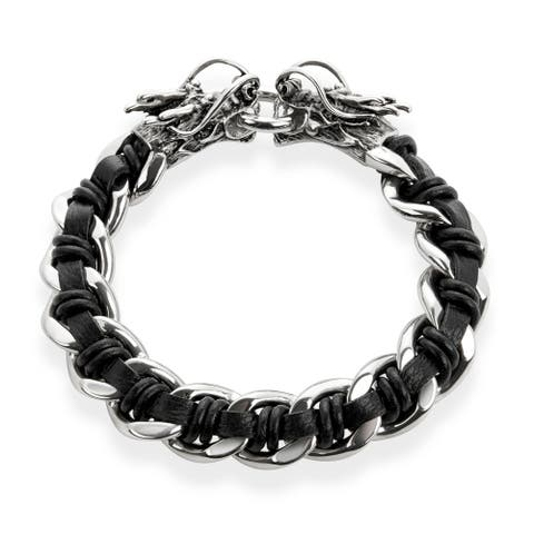 Crucible Intertwined Leather Stainless Steel Chain Bracelet (16 mm)