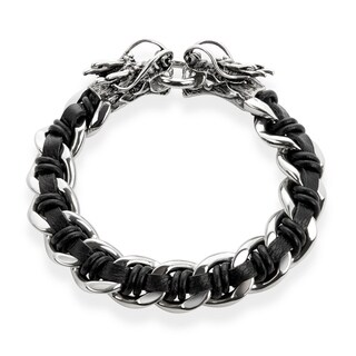 Crucible Stainless Steel Black Leather Curb Chain Bracelet with Dragon Heads - 9 inches (16 mm)|https://ak1.ostkcdn.com/images/products/10707826/P17767203.jpg?_ostk_perf_=percv&impolicy=medium