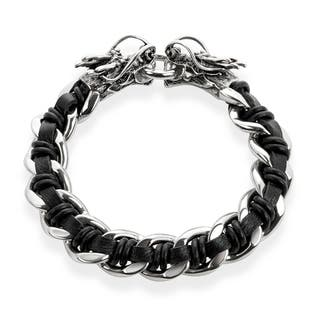 Crucible Stainless Steel Black Leather Curb Chain Bracelet with Dragon Heads - 9 inches (16 mm)|https://ak1.ostkcdn.com/images/products/10707826/P17767203.jpg?impolicy=medium