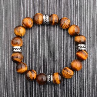 Crucible Stainless Steel Onyx or Tiger Eye Natural Gemstone Bead Bracelet (12 mm) (2 options available)