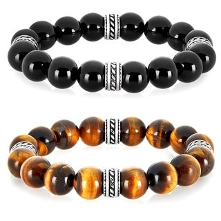 Crucible Stainless Steel Onyx or Tiger Eye Natural Gemstone Bead Bracelet (12 mm)