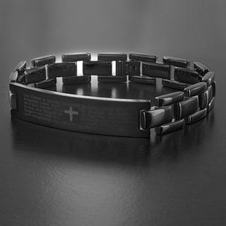 Men's Stainless Steel 8.5-inch Lord's Prayer ID Link Bracelet - 8.5 inches