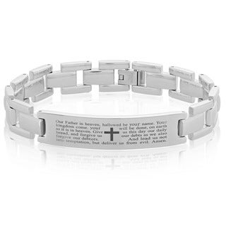 Men's Stainless Steel 8.5-inch Lord's Prayer ID Link Bracelet