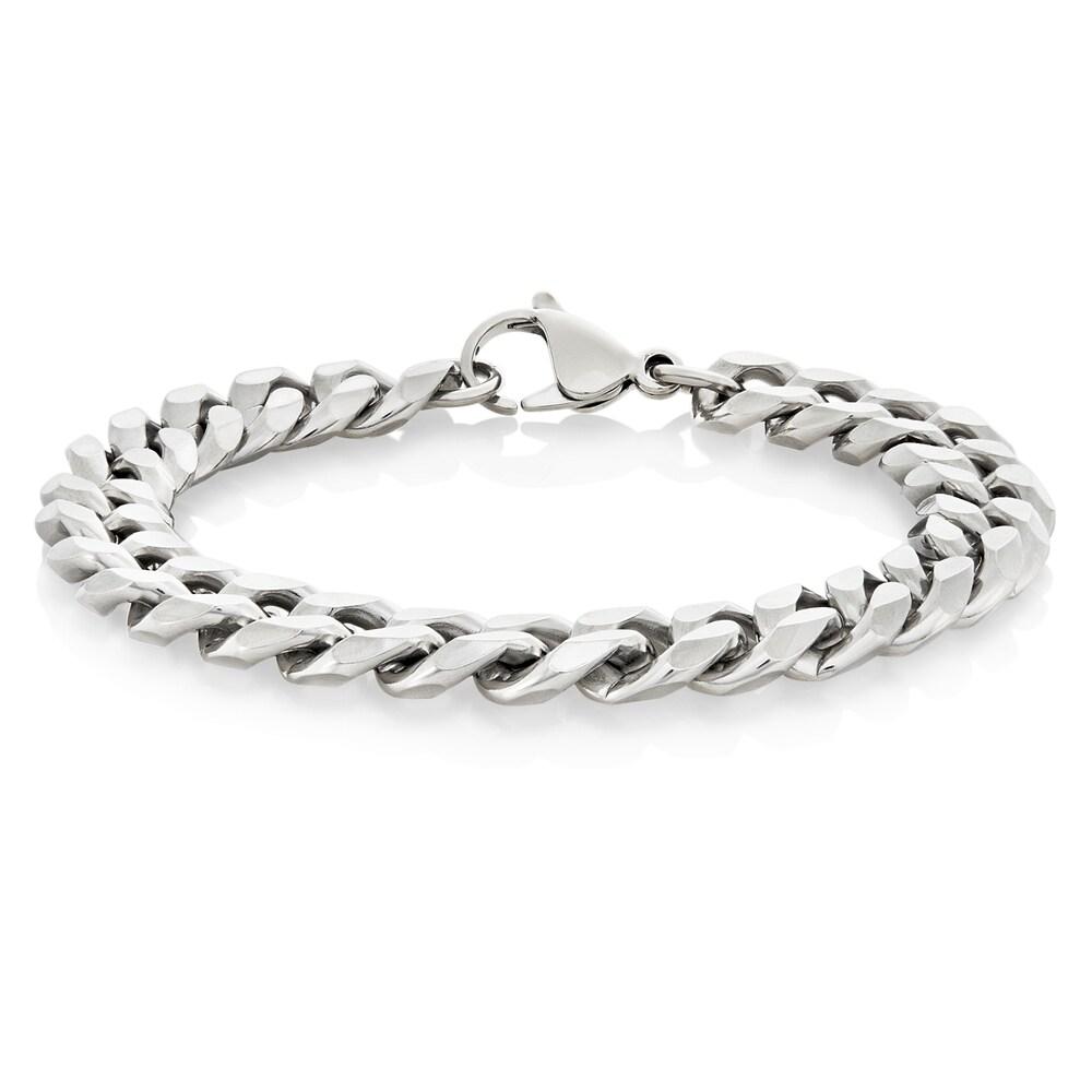 8.25 Black Cross ID Bracelet Arrow Jewelry Stainless Steel Silver Tone Curb Chain