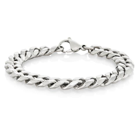 Crucible Stainless Steel Beveled Curb Chain Bracelet - 8.5 inches (11 mm) - Silver