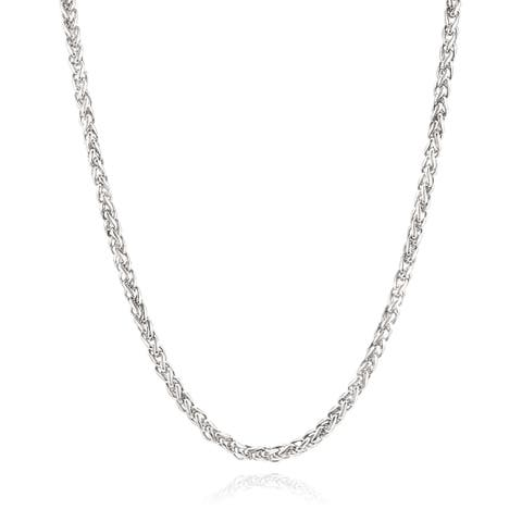 Men's Stainless Steel 24 Inch Spiga Chain Necklace (5 mm) - Silver