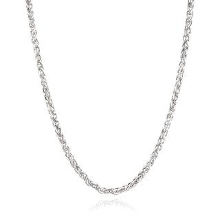 Men S Stainless Steel 24 Inch Spiga Chain Necklace 5 Mm Silver