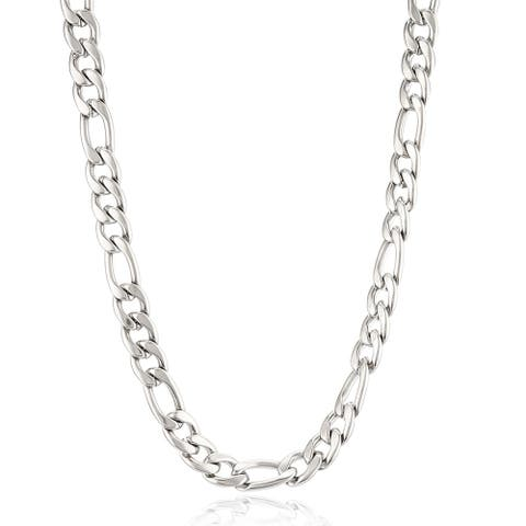 Crucible Polished Stainless Steel Figaro Chain Necklace (9mm)