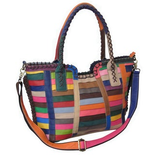 Amerileather Multicolor 'Easton' Leather Handbag