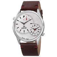 August Steiner Men's Quartz Dual-Time Leather Silver-Tone Strap Watch - silver