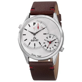 August Steiner Men's Quartz Dual-Time Leather Silver-Tone Strap Watch - Silver