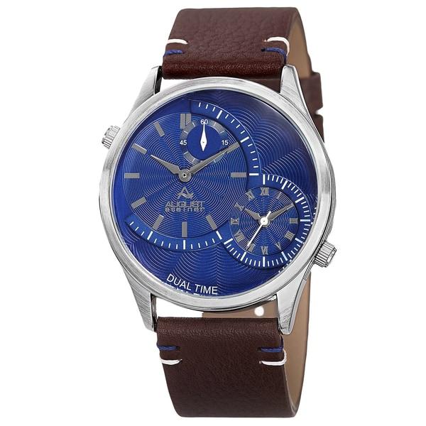 August Steiner Men's Quartz Dual-Time Leather Blue Strap Watch
