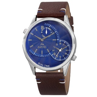 August Steiner Men's Quartz Dual-Time Leather Blue Strap Watch