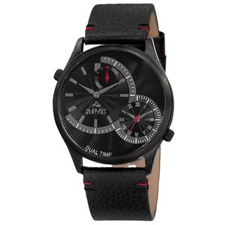 August Steiner Men's Quartz Dual-Time Leather Black Strap Watch