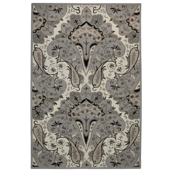 Silver Paisley Wave Wool Rug - 4'x6'
