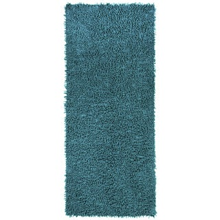 Blue Shagadelic Chenille Twist (2'x5') Shag Runner