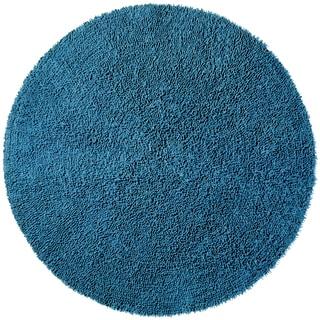 Blue Shagadelic Chenille Twist (2'x2') Round Rug